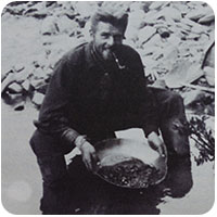 Anton Money washing gold at Frances Lake (1930)