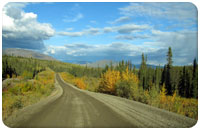 A network of remote gravel roads connects the southeast Yukon