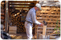 Chopping wood for a crackling fire