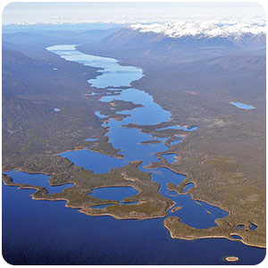 Aerial view of the ice age carved Frances Lake East Arm