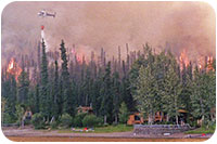 2004 forest fire, the firefighting helicopter is circling just behind the lodge