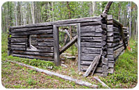 Today's remains of a 1940 Hudson's Bay Cabin at Frances Lake (Photo 2008)