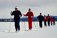 Cross-country skiing on Frances Lake (1994)
